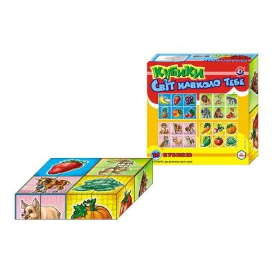 """Кубики Мир вокруг тебя 16 кубиков купить в магазине """"Пустун"""""""
