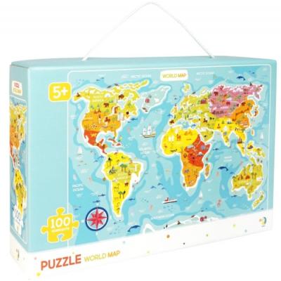 """Пазлы """"Карта мира"""", 100 элементов (английский язык) 300123 купить в магазине """"Пустун"""""""