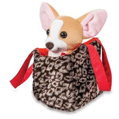 """Мягкая игрушка Чихуахуа коричневого цвета с креативной сумочкой в платье купить в магазине """"Пустун"""""""
