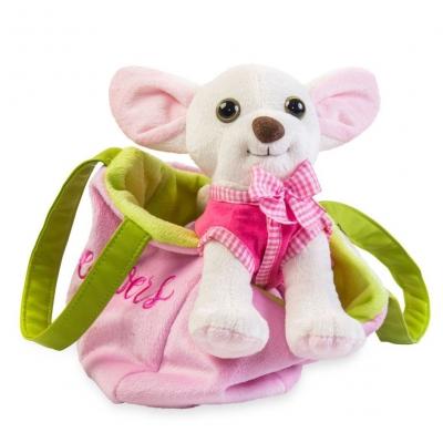"""Мягкая игрушка Чихуахуа с сумочкой белого цвета, в платье купить в магазине """"Пустун"""""""