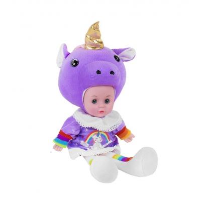 """Мягкая кукла Lovely Doll: Единорожек фиолетовый с золотистым рогом купить в магазине """"Пустун"""""""