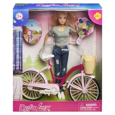 """Кукла Defa Lucy. С велосипедом в сером костюме купить в магазине """"Пустун"""""""