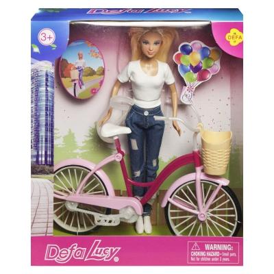 """Кукла Defa Lucy. С велосипедом в белом костюме купить в магазине """"Пустун"""""""