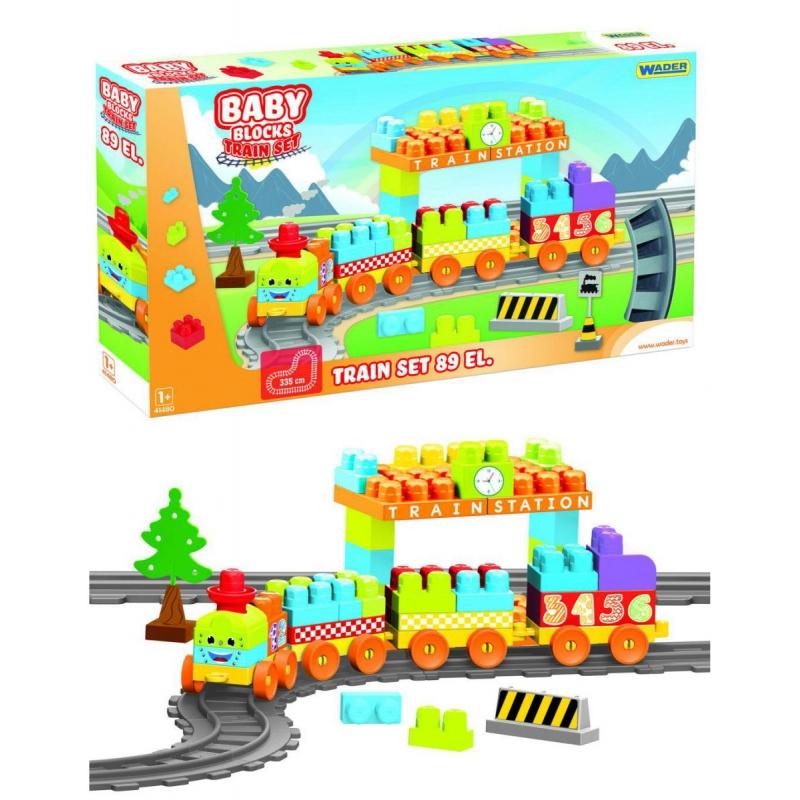 """Baby Blocks Мои первые кубики  железная дорога 3,35 м  89 деталей (41480) купить в магазине """"Пустун"""""""